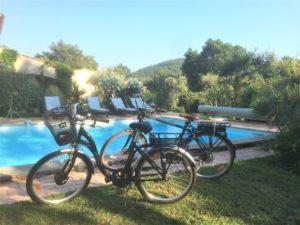 e-bikes to stroll to the village